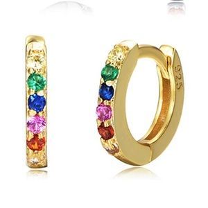 3/$25 Gold plated CZ inlaid huggie cuff earrings